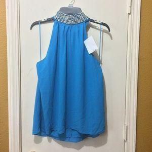 Badgley Mischka embellished halter-top teal blouse